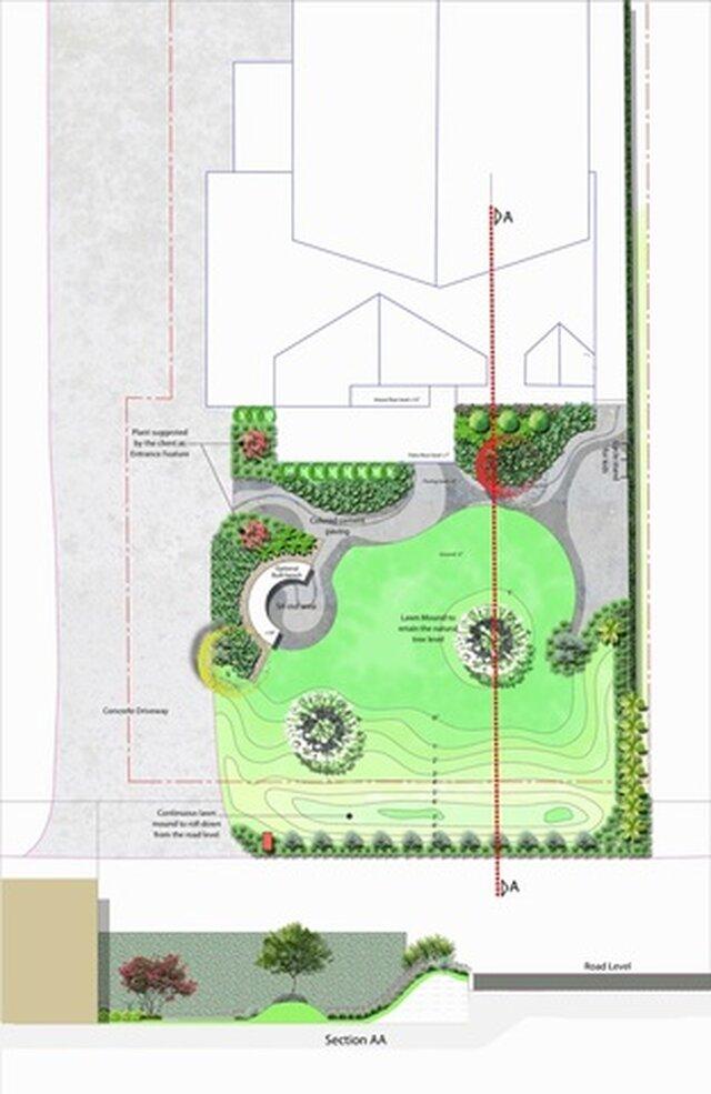 Sloping front yard Landscape design, Atlanta, USA