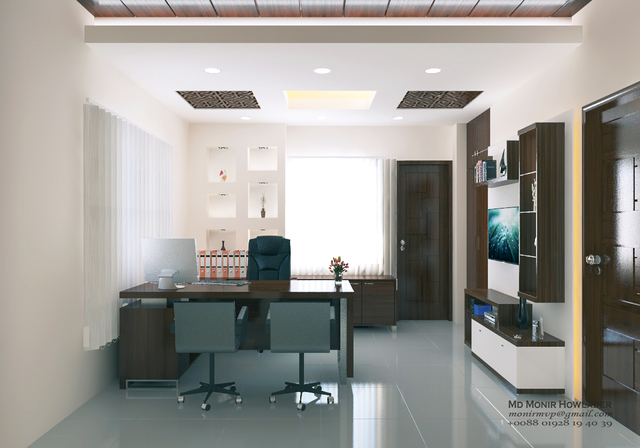 Office interior 3d  render