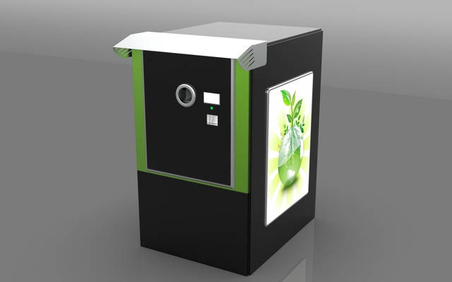 Reverse vending machine for plastic bottles and cans