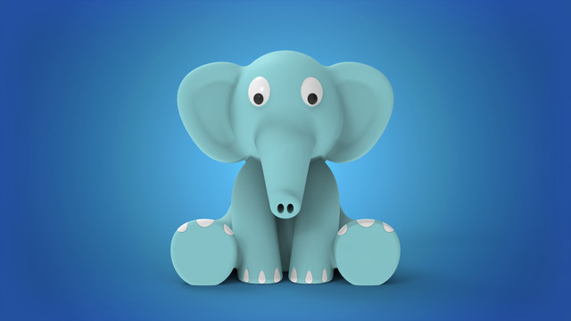 Cute Sitting Baby Elephant Silicone Rubber